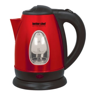 Impress Red Stainless Steel Cordless Electric Tea Kettle