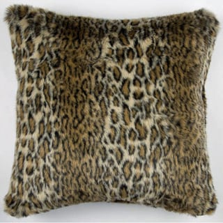 JAR Designs Feather and Down Filled Faux Ocelot Fur Throw Pillow