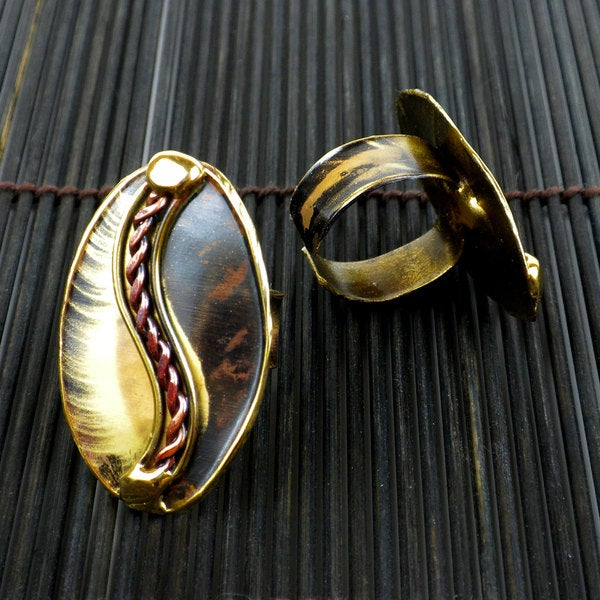 Handcrafted Brass and Copper Oval with Braid Ring (South Africa)