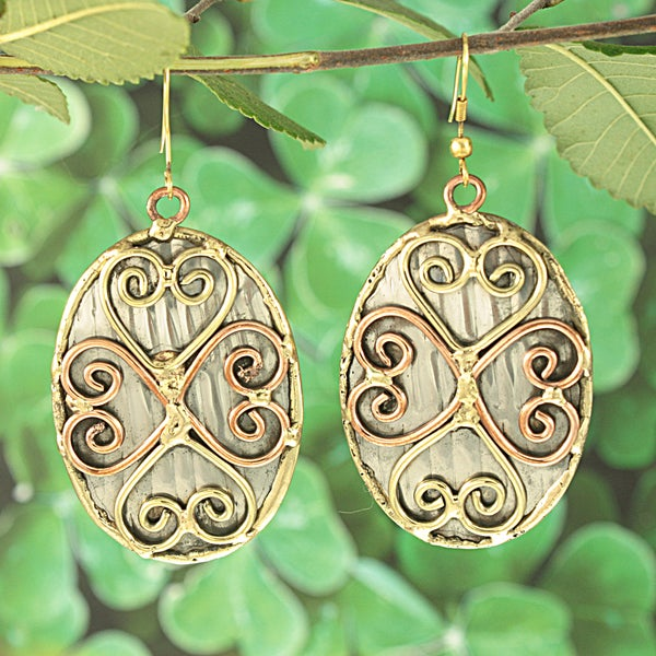 Handcrafted Brass and Copper Heart Cross on Steel Dangle Earrings (India)