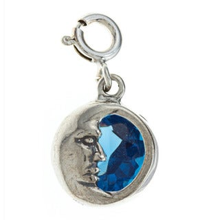 Sterling Silver Blue Cubic Zirconia Crescent Moon Face Charm
