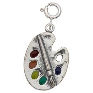 Sterling Silver Enameled Painter's Palette Charm