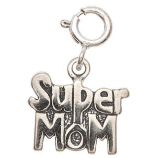 Sterling Silver 'Super Mom' Charm