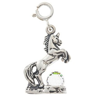Sterling Silver Crystal Unicorn Charm