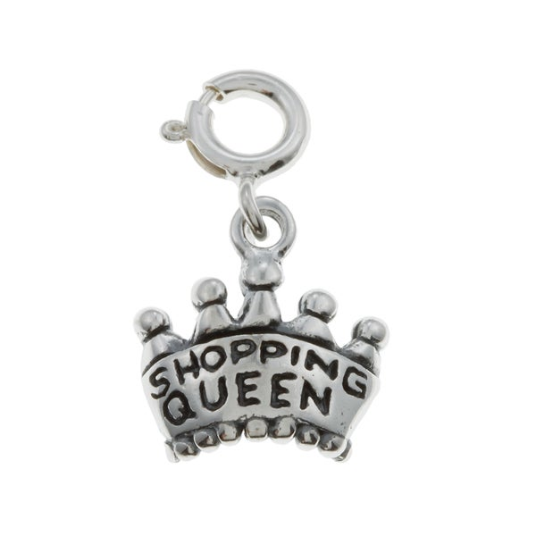 Sterling Silver Shopping Queen Crown Charm