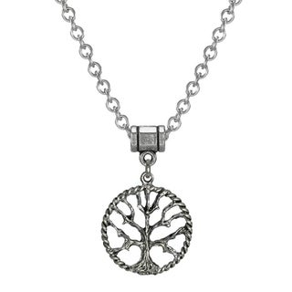 Pewter Tree Of Life Stainless Steel Chain Necklace