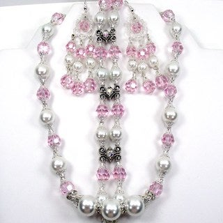 White Glass Pearl and Pink Crystal Jewelry Set