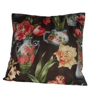 Black Floral Pillow Cover