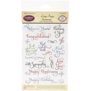 "JustRite Stampers 4""x6"" Clear Stamp Set-Large Fancy Sentiments 18pc"