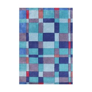 Alliyah Handmade French Blue New Zealand Blend Wool Rug (4' x 6')