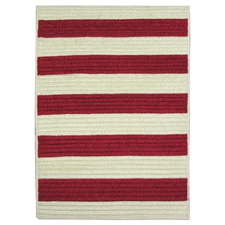 Nautical Stripe Red Indoor/ Outdoor Runner Rug (2' x 9')