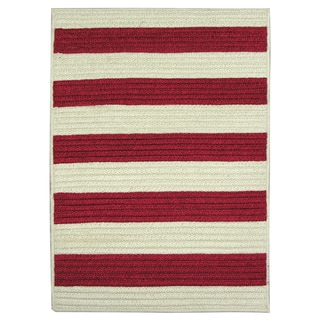 Nautical Stripe Red Braided Rug