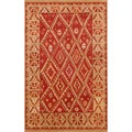 Handmade Aiden Rust Gold Wool Rug (8' x 10')