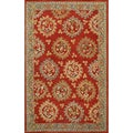 Handmade Medallion Red Blue Wool Rug (8' x 10')