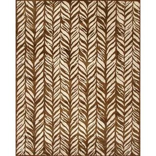 Handmade Bamboo Leaf Gold Wool Rug (8' x 10')