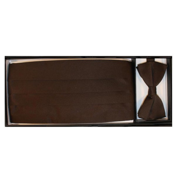 Ferrecci Men's Brown Cummerbund Necktie Set