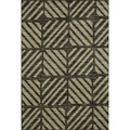 Arrakis Charcoal/ Green Rug (3'9 x 5'6)