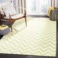 Hand-woven Chevron Dhurrie Green Wool Rug