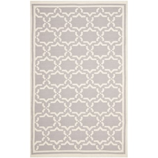 Handwoven Moroccan Dhurrie Gray/Ivory Wool Rug (9' x 12')