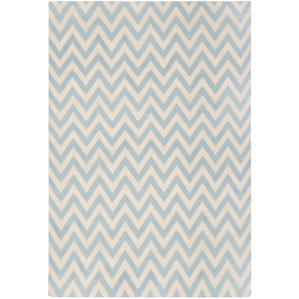 Safavieh Hand-Woven Chevron Reversible Dhurrie Blue Wool Rug