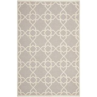 Handwoven Moroccan Dhurrie Geometric Gray Wool Rug (10' x 14')