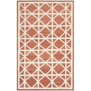 Handwoven Moroccan Dhurrie Red Wool Area Rug