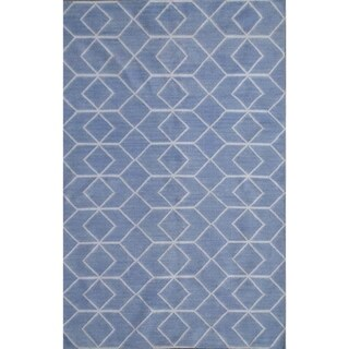 Safavieh Hand-woven Moroccan Reversible Dhurrie Blue Wool Rug