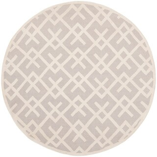 Safavieh Hand-woven Moroccan Dhurrie Grey Wool Rug (6' Round)