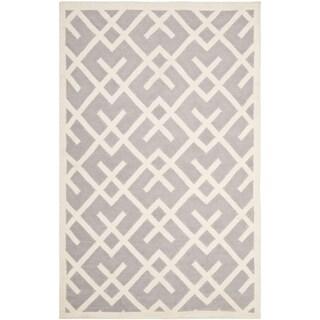 Handwoven Moroccan Dhurrie Gray Crisscross Wool Rug (5' x 8')