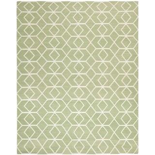 Safavieh Hand-woven Moroccan Reversible Dhurrie Sage Green Wool Rug