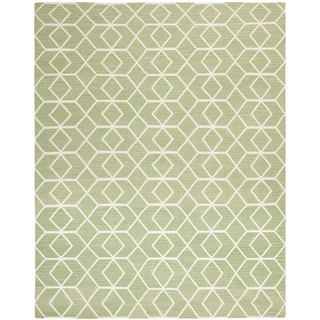 Safavieh Hand-woven Moroccan Dhurrie Sage Green Wool Rug