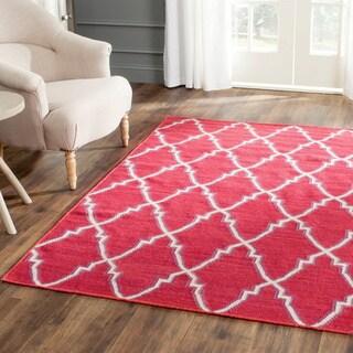 Safavieh Hand-woven Moroccan Reversible Dhurrie Red Wool Rug