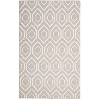 Safavieh Hand-Woven Moroccan Reversible Dhurrie Grey Geometric Wool Rug (8' x 10')
