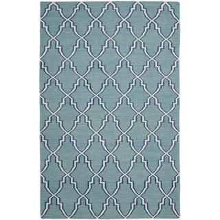 Safavieh Hand-woven Moroccan Dhurrie Light Blue Wool Rug