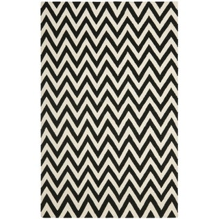Safavieh Hand-woven Moroccan Reversible Dhurrie Chevron Black Wool Rug (10' x 14')