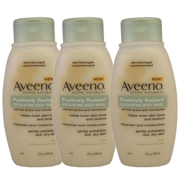 Aveeno Active Naturals Positively Radiant Exfoliating 12-ounce Body Wash (Pack of 3)