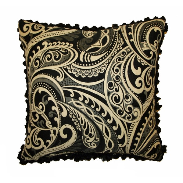 JAR Designs 'Paisley Black' Feather Filled Throw Pillow