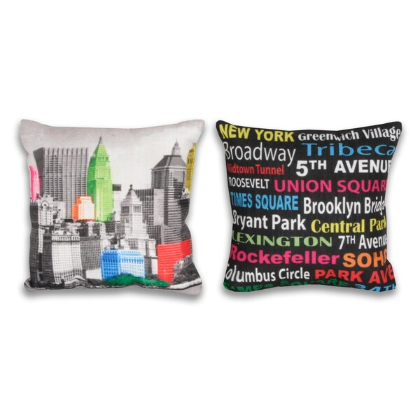 NYC Neon and City Words 8x8-inch 2-piece Pillow Set