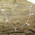 Round Cubic Zirconia Dangle Link Silver Anklet (Thailand)