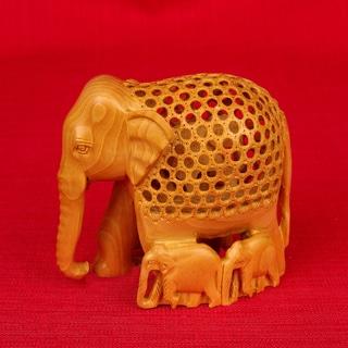 Hand-carved Kadam Wood Jali Elephant with Family Figurine (India)