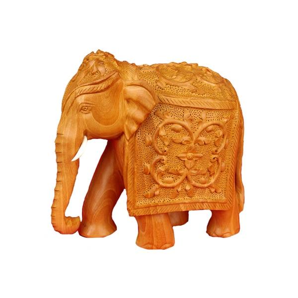 Kadam Wood Handcarved Elephant Figurine (India)