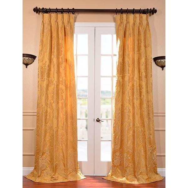 Exclusive Fabrics Magdelena Golden Faux Silk Jacquard French Pleated Curtains
