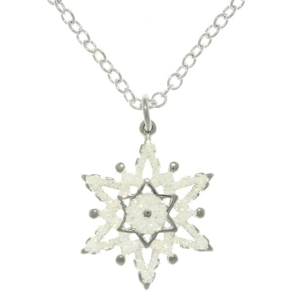 Carolina Glamour Collection Pewter White Enamel Glittering Snowflake Charm Necklace