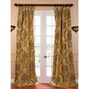 Magdelena Gold and Blue Faux Silk Jacquard French Pleated Curtains