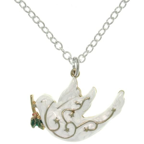 Pewter White Enamel Peace Dove Charm Necklace 10304651