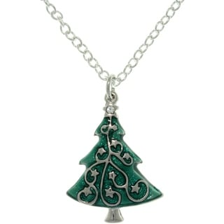 Pewter Crystal and Enamel Holiday Star-decorated Tree Charm Necklace