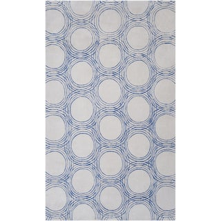 Hand-tufted Akron Geometric Circles Plush Rug