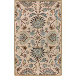 Hand-tufted Sanctuary Beige Floral Wool Rug (2' x 3')