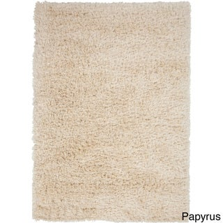 Hand-woven Solid Beige Shag Corang Rug