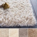 Hand-woven Solid Ivory Shag Corang Rug